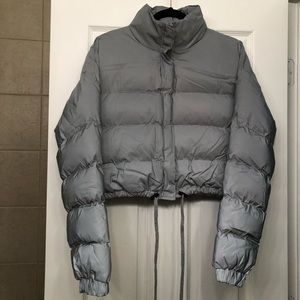 Pretty Little Thing Grey Reflective Puffer Jacket